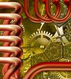 Retro mechanism. Technical retro industrial steampunk mechanism stock illustration