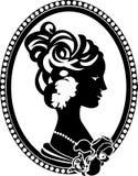 Retro medaglione con il profilo femminile Fotografia Stock Libera da Diritti