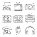 Retro media devices Icons in thin line style Stock Photos