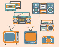 Retro Media Electronics Set Royalty Free Stock Photo