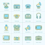 Retro Media Flat Line Icons Stock Images