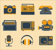 Retro media icons. Retro media devices icons set vector illustration royalty free illustration