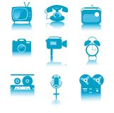 Retro media icons set with reflections Stock Images