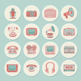 Retro media icons. Vintage retro media gadgets icons set of radio camera tv isolated vector illustration Royalty Free Stock Images