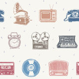 Retro media pattern Stock Photos