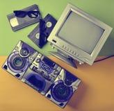 Retro media technologies. Entertainment 80s. Black white lamp TV. Retro media technologies. Entertainment 80s. Black white lamp TV, tape recorder, video stock images