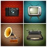 Retro medialni i audio przyrząda ilustracji