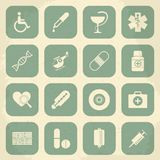 Retro Medical Icons. Vector illustration Stock Photos