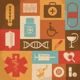 Retro Medical Icons. Vector illustration Stock Photo