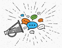Retro megaphone with speech bubbles concept Royalty Free Stock Image