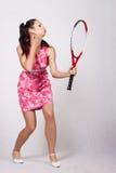 Retro meisje in een roze kleding royalty-vrije stock foto's