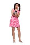 Retro meisje in een roze kleding stock afbeeldingen
