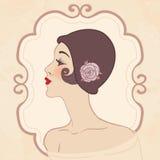 Retro meisje van de vin in hoed vector illustratie