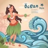 Retro meisje van stijl Hawaiiaanse mooie hula Royalty-vrije Stock Foto's