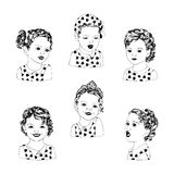 Retro meisjes clipart royalty-vrije illustratie