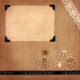 Retro memories. Page from a retro-styled photo album with blank photo frame and scrap bicycle vector illustration