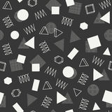 Retro memphis geometric line shapes seamless patterns. Hipster fashion 80-90s. Abstract jumble textures. Black and white. Zigzag lines. Triangle. Memphis style Royalty Free Stock Photo