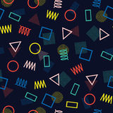 Retro memphis geometric line shapes seamless patterns. Hipster fashion 80-90s. Abstract jumble textures. Zigzag lines. Triangle. Memphis style for printing vector illustration