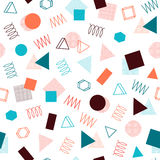 Retro memphis geometric line shapes seamless patterns. Hipster fashion 80-90s. Abstract jumble textures. Zigzag lines. Triangle. Memphis style for printing Stock Images