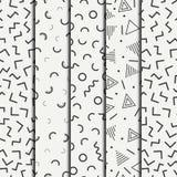 Retro memphis geometric line shapes seamless patterns set.  Stock Photo