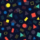 Retro Memphis kreskowych kształtów geometryczni bezszwowi wzory Modniś moda 80-90s Abstrakcjonistyczne bigos tekstury czarny whit ilustracja wektor