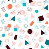 Retro Memphis kreskowych kształtów geometryczni bezszwowi wzory Modniś moda 80-90s Abstrakcjonistyczne bigos tekstury Zygzag lini ilustracji