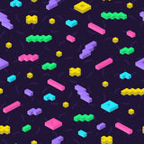 Retro memphis seamless pattern in bright colors. Repeatable background with 3d mosaic geometric shapes. Fashion style 80-90s Royalty Free Stock Images