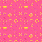 Retro memphis seamless pattern. 80-90s fashion style. Abstract Colorful geometric background. Textile print, wallpaper, wrapping paper, cover design. Vector Royalty Free Stock Photography