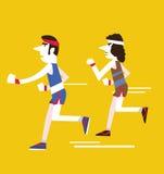 Retro Men running. Stock Images