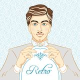 Retro men`s set: young beautiful men of 1920s. Vintage style vector illustration.  Stock Images