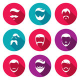 Retro Mens Hair Styles Icons Set. Vector Illustration.
