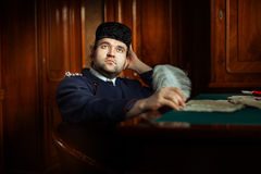 Retro mens met dromerige ogen Royalty-vrije Stock Fotografie
