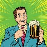 Retro mens met een bierpop-art vector illustratie