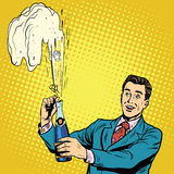 Retro mens opent de vieringsvakantie van de champagnepartij stock illustratie
