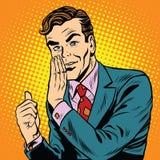 Retro mens toont een geheim vector illustratie