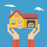 Retro- menschliche Hände mit Haus Real Estate modern lizenzfreie abbildung