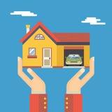 Retro Menselijke Handen met Huis Modern Real Estate Royalty-vrije Stock Fotografie