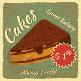Retro Menu Card with Slice of Cake Stock Photo