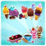 Retro menu del gelato Fotografia Stock