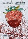 Retro menu design Chocolate covered strawberry. Strawberry in dark chocolate. Vector illustration Stock Image