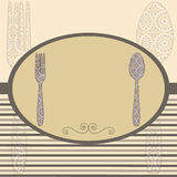 Retro menu frame. Retro cutlery menu card. Vintage vector illustration stock illustration
