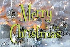 Retro Merry Christmas card. Merry Christmas card with silver disco ornaments Stock Photos