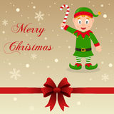 Retro Merry Christmas Card Green Elf Royalty Free Stock Photography