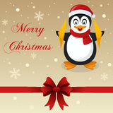 Retro Merry Christmas Card Penguin Stock Photography
