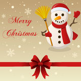 Retro Merry Christmas Card Snowman Stock Photography