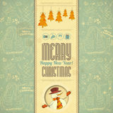 Retro Merry Christmas Card with Snowman. In Vintage Style. illustration Royalty Free Stock Image