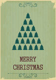 Retro Merry Christmas with Christmas Trees on a Vintage backgrou Stock Photography