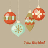 Retro Merry Christmas greeting card, invitation, Spanish Feliz Navidad. Hanging Christmas balls, flat design. Vector illustration Royalty Free Stock Images