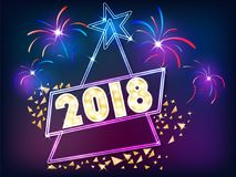 New year sign with light. Retro merry christmas and happy new year sign with light vector illustration royalty free illustration