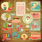 Retro Merry Christmas Label Set Royalty Free Stock Images